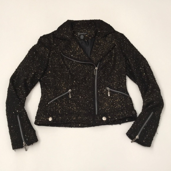 INC International Concepts Jackets & Blazers - INC motorcycle black gold jacket small sequence